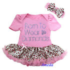 Baby Pink Leopard Rhinestone Born To Wear Diamonds Tutu Party Dress Romper 0-18M