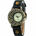Womens Ladies Wrist Watches PU Leather Retro Dial Big  Black Dress Quartz Watch