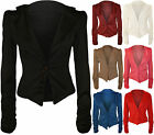 New Ladies Blazer Ruched Long Sleeve Womens Collar Fitted Button Jacket Top 8-14