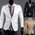 New Stylish Men's Suit Blazer Long Sleeve Slim Fit Casual Two Button Coat Jacket