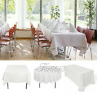 White Polyester Tablecloth Heavy Weight Wedding Party Xmas Banquet 6 Size Decor