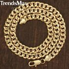 """9MM MENS Boys Chain Curb Link Yellow Gold Filled Bracelet 7-11"""" Necklace 18-36"""""""