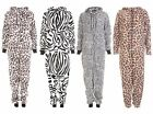 LADIES ANIMAL PRINT HOODED ZIP ONESIE ALL IN ONE JUMPSUIT PLAYSUIT SIZE 8-16