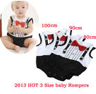 Baby Boy Infant Sleeveless Romper Suit Weskit With Red Tie Gentleman 0-2 Yrs