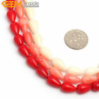 "Hot Sale Drop Red Pink Coral Jewelry Making Gemstone Beads 15"" Size & Color Pick"