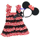 Girls Red Polka Dots Black Lace Pettidress Minnie Mouse Dress Ear Costume NB-5Y