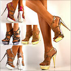 NEW Ladies Sparkly Diamante Rhinestone Ankle Straps High Heel Shoes Sandals Size