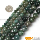 Natural Green Moss Agate Round Beads For Jewelry Making 4mm 6mm 8mm 10mm 12mm