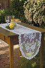 """Table Runner 13"""" x 72"""" in Victorian Rose Pattern - Colors: Ecru and White"""