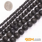 Natural Gemstone Black Lava Volcanic Round Beads For Jewelry Making Strand 15""