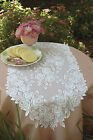 """Table Runner 14"""" x 72"""" in Tea Rose Pattern - Colors: Ecru and White"""