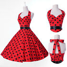 Vintage Retro Halter Polka dot Swing 50's Housewife pinup Rockabilly Dress S-XL