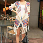 Fashion Fringed Cardigan Women Ladies Open Front Cape Knitted Poncho Long Sleeve