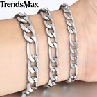 6/7/9mm Mens Chain Boy Flat Figaro Silver Tone Stainless Steel Bracelet 7-11inch