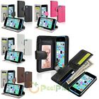 New Wallet Card Holder Flip Leather Case Cover For Apple iPhone 5C Colors