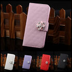 Crystal 3D Rose Flower Leather Wallet Card Holder Flip Case Cover for iPhone 5C