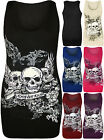 New Womens Skull Forever Young Print Racer Back Sleeveless Ladies Vest Top 8-14