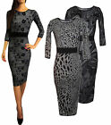New Sexy Embossed Lace Print Panel Office Pencil Wiggle Midi Jumper Dress 8 - 18