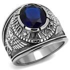 United States Navy USA USN Stainless Steel Veteran Blue sapphire CZ  Ring