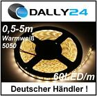 0,5-5m LED Strip 5050 60LED/m wasserdicht Streifen Leiste Lichterkette Warmweiß