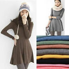 Women Lady Korean Style Solid Plain Soft Long Sleeve Mini Dress Skirts Fashion