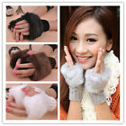 HOT New Women Faux Rabbit Fur Hand Wrist Winter Warmer Knitted Fingerless Gloves