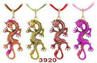 Spiral-Dragon Pendant Necklaces Bronze Plated Inlay Czech Rhinestone Mens Gift