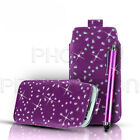 DIAMOND BLING LEATHER PULL TAB CASE COVER POUCH & STYLUS FOR VARIOUS PHONES