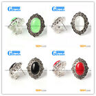 NEW 15x20mm Oval Beads Tibetan Silver Stud Earrings Fashion Jewelry For Women