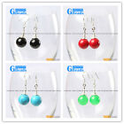 Fashion 10mm round ball beads tibetan silver dangle earrings for chritmas gift