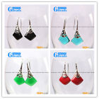 Fashion pretty 15mm square beads Marcasite silver dangle earrings  G-Beads