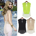 Hot Sell Celebrity Women's Sleeveless Casual Tops Summer Cool Blouse T-Shirt