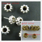 200pcs Silver/Gold Color Daisy Bead Spacers 6x3mm 569