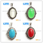 Fashion Jewelry Oval Beads Marcasite Siver Pendant 26x42mm  FREE Gift Box+Chain