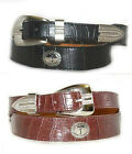 "Men's Black or Brown Alligator Grain Leather Belt with Golfer Conchos 1 1/3""  W"