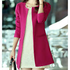 New Korea Women's Slim Fit Crewneck Long Sleeve Jacket Solid OL Long Suit Blazer