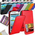 PU Leather Flip Case Cover + Stylus For Various Mobile Phones & Screen Protector