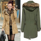 Damen Warm  Mantel Jacke Long  Parka Kapuze Coat Winterjacke