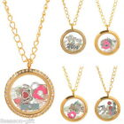 1PC Handmade Living Floating Memory Locket Necklace Round Gold Plated DIY