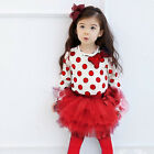 2014 R113 Girl Red L/S Tee + Tutu Skirt Legging Girls Dresses SIZE 2-3-4-5-6-7Y