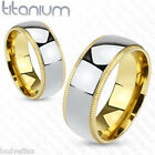 PERFECT MENS SOLID TITANIUM SILVER WITH GROOVED GOLD EDGE WEDDING BAND RING