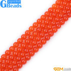 "Orange Jade Round Beads For Jewelry Making Free Shipping 15"" 6mm 8mm 10mm 12mm"
