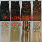 """15""""-30""""7PCS Clip In Remy Human Hair Extensions black brown blonde 70g 80g 120g"""