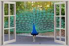 Huge 3D Window Beautiful Peacock View Wall Stickers Mural Art Decal Wallpaper