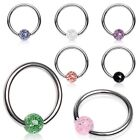 New Surgical Steel Tragus Labret BCR Captive Bead Ring With Colour Glitter Ball