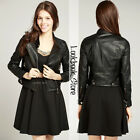 Women Black PU Faux Leather Moto Crop Twin Zip Pockets Jacket Coat Outwear