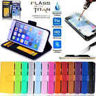 Tempered Glass Screen Protector + New Wallet Leather Case Cover - iPhone 5 5S