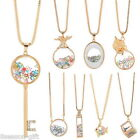 1 Gold Plated Key Shaped Glass Charm Pendant Chain Long Necklace M2251