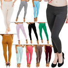 New Womens Plain Colour Stretch Full Length Ladies Leggings Size 8 16 S M L XL