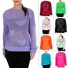 New Ladies Womens Fishnet Crochet Heart Knitted Jumper Top Size S M L XL 8 14